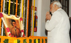 PM Modi paying homage to Savarkar